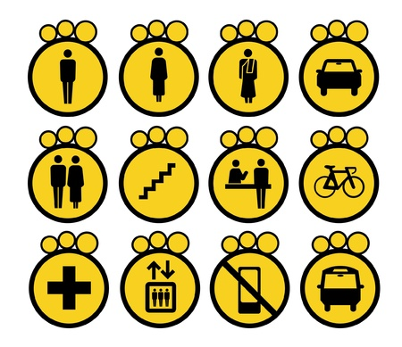 woman stairs: Vector illustration Yellow schematic Icons Sign Symbol Pictogram