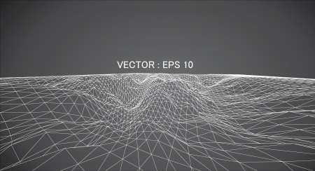 3D wireframe of contour swirl  Ilustração