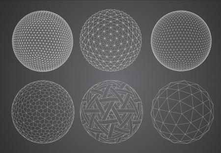 ?    ?    ?    ? ¡mbito: Wireframe de esfera, ilustración vectorial Vectores