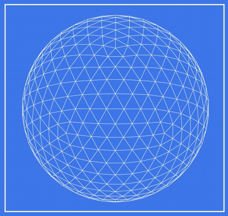 Wireframe of spheres on blue background Imagens - 20404974