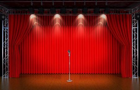 劇場ステージ上と赤いカーテンとスポット ライト Theatr ical シーン、投光器の光の中で古い劇場の内部のヴィンテージのマイク