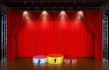 劇場の舞台と赤いカーテンとスポット ライトのスポーツ表彰台、最初の 2 番目と 3 番目の場所