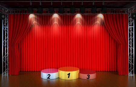 Theater stage and red curtains and spotlights With Sports podium for the first, second and third place