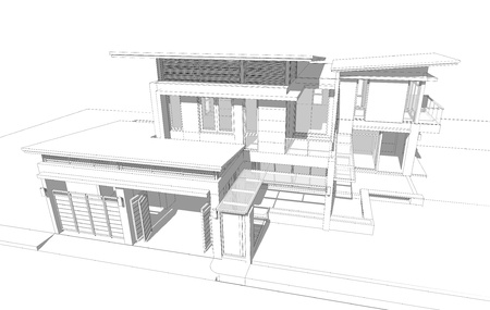 home plans: Wireframe of building