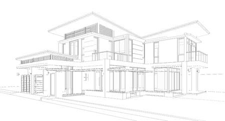 Wireframe des Gebäudes Standard-Bild - 20613501