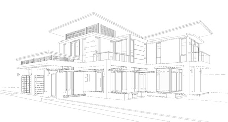 house facades: Wireframe of building