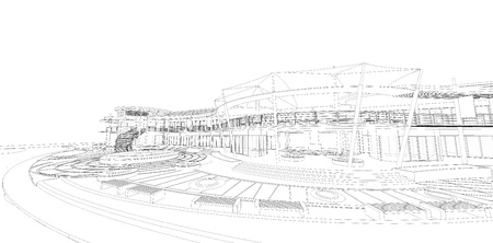 Wireframe of building