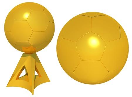 3d Golden trophy with golden ball  photo