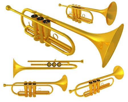 herald: Isolated polished 3d brass trumpet  Includes pro clipping path  Stock Photo