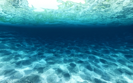 Sandy bottom, blue and surface underwater 3d Imagens - 22019156