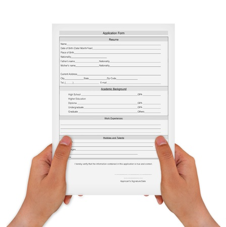personal data privacy issues: hand holding Application Form