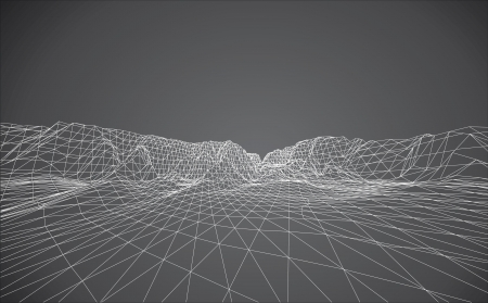 3D wireframe of contour swirl  Vector