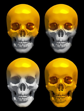 golden skull isolated  photo