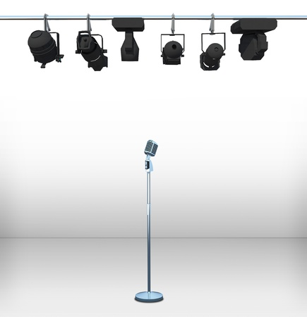 comedy show: vintage microphone on white room