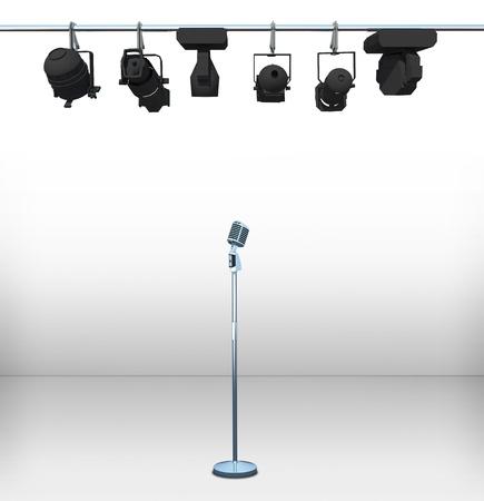 cabaret: vintage microphone on white room