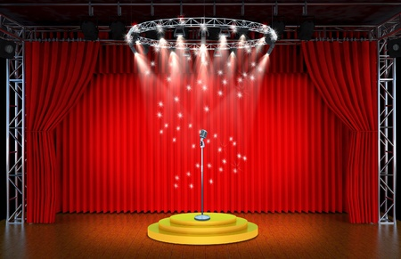 searchlights: vintage microphone on Theater stage with red curtains and spotlights Theatrical scene in the light of searchlights, the interior of the old theater  Stock Photo