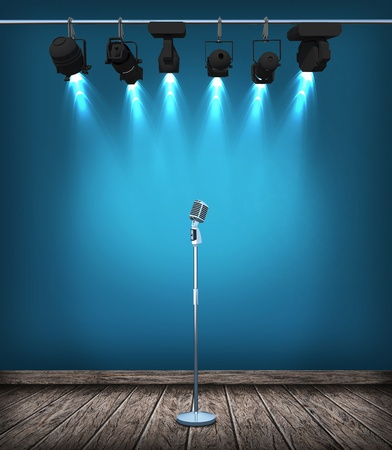 vintage microphone on wood stage photo