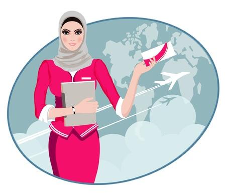 hotesse de l air: Air Travel Air hôtesse tenant billet pour le vol, présentant les services de son entreprise Illustration