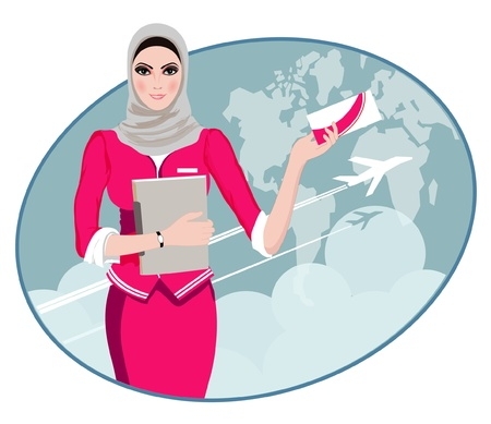 an attendant: Air Travel  Air hostess holding ticket to the flight, presenting her company s services  Illustration