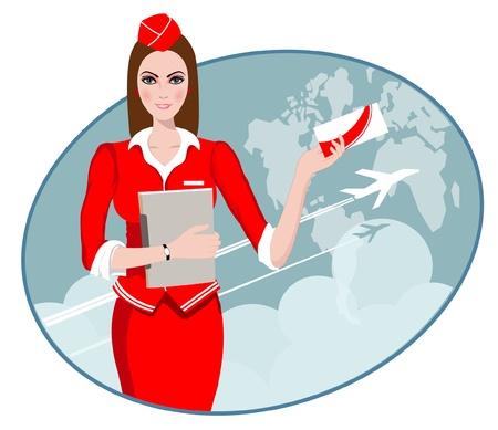 hotesse de l air: Air Travel Air h�tesse tenant billet pour le vol, pr�sentant les services de son entreprise Illustration