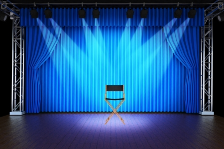 comedy show: Empty chair with spotlight on stage of Blue Curtain Stage Background