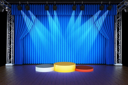 acknowledgment: Theater stage and blue curtains and spotlights With Sports podium