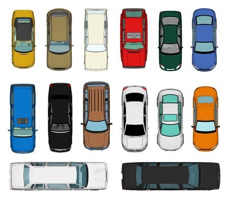 bovenaanzicht mens: Set van Various Geïsoleerde 3d Cars Stockfoto