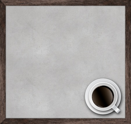 cup of coffee with wooden frame on concrete background  photo