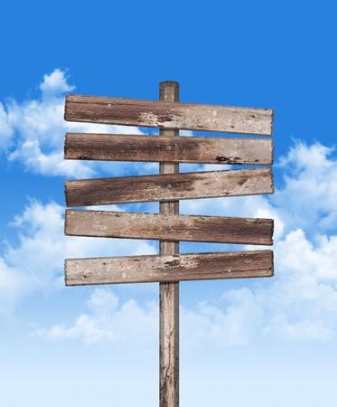 Old weathered wood on blue sky  photo