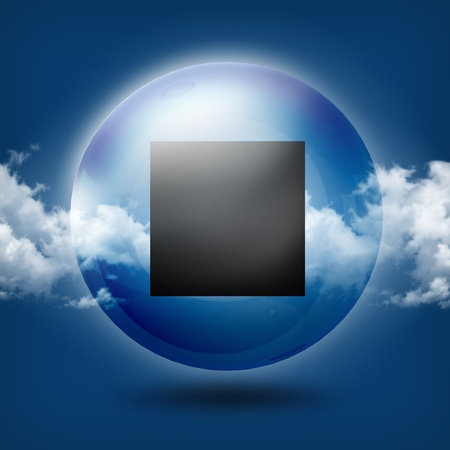Glass button icon on abstract sky background  photo