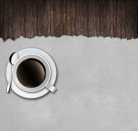 cup of coffee with wooden on concrete background  photo
