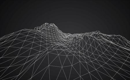 3D wireframe van contour swirl