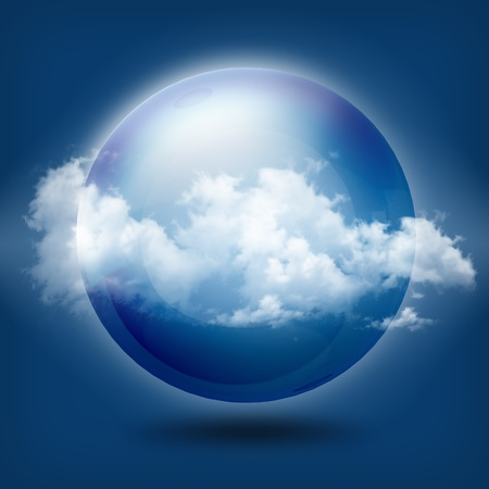 scrying: A glass transparent ball blue sky  Stock Photo