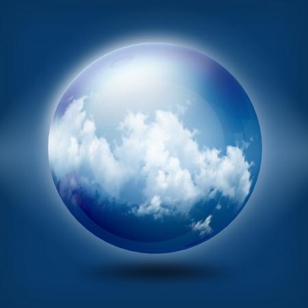 clound: A glass transparent ball on blue sky