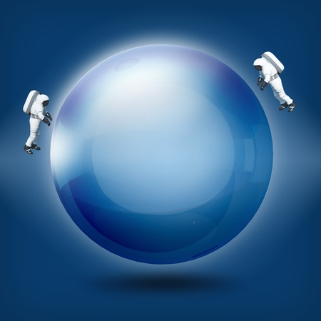 scrying: Abstract a glass transparent ball with astronaut on blue background