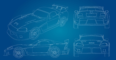 wireframe car  Vector