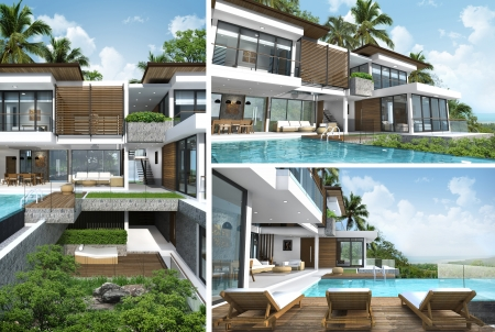 3D rendering of tropical building exterior