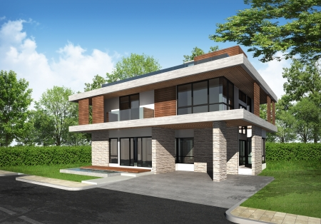 modern house exterior: 3D rendering of tropical building exterior