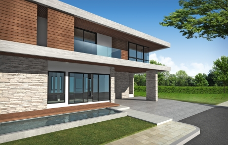 3D rendering of tropical building exterior  photo