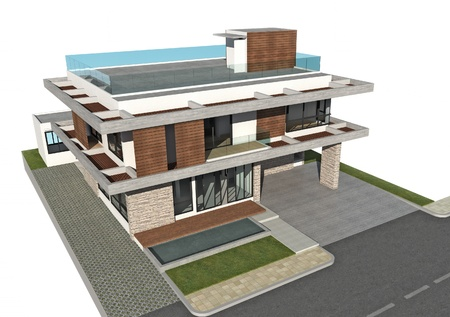 swimming pool home: 3D rendering of tropical building exterior