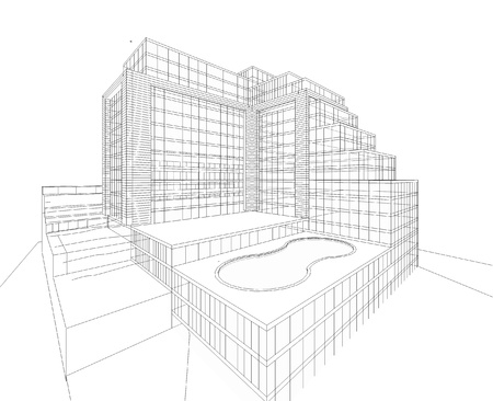 3D wireframe of building  Imagens