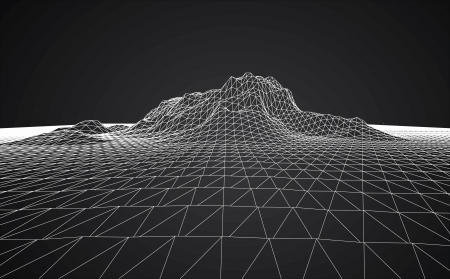 3D wireframe of contour swirl  Ilustração