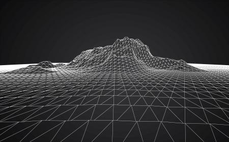longitude: 3D wireframe of contour swirl  Illustration
