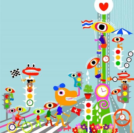 abstract cartoon vector  Illustration