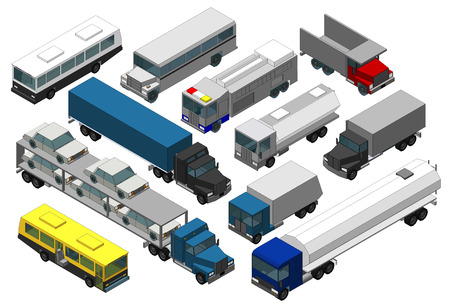 Set of Various Isolated 3d Cars Stock Photo - 22557073