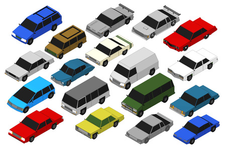 view icon: Set of Various Isolated 3d Cars  Stock Photo
