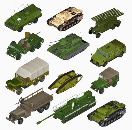 Set of Military vehicles  3d  Stock Photo - 22557085