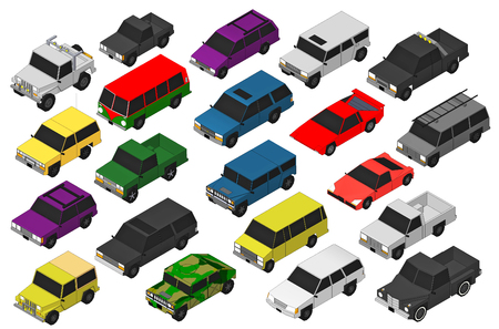 pickup: Set of Various Isolated 3d Cars  Stock Photo