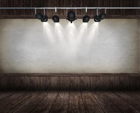 room interior vintage with spotlight