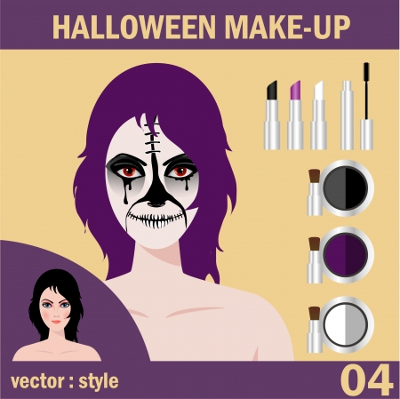 Halloween concept   Beautiful young woman in day of the dead mask skull face art  Halloween face art   Vector